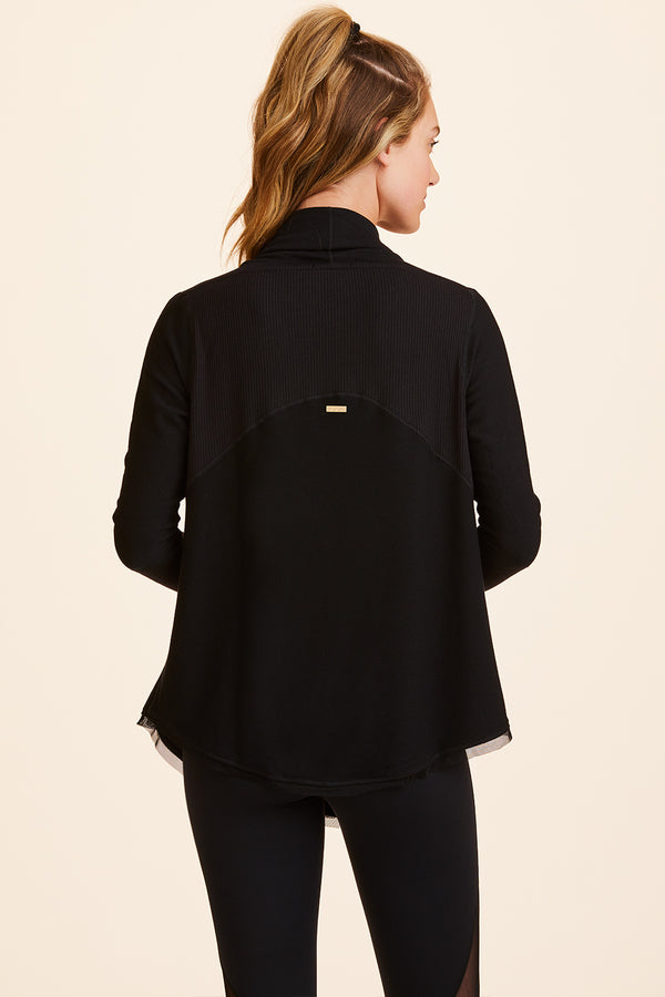Front view of Alala Women's Luxury Athleisure black cardigan