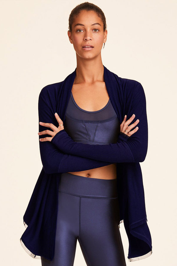 Front view of Alala Women's Luxury Athleisure navy cardigan