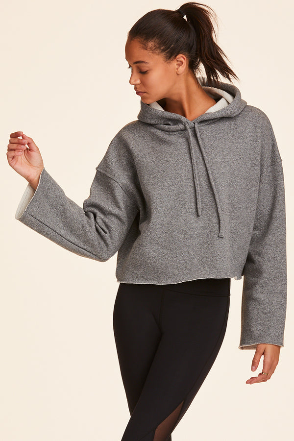 Front view of Alala Women's Luxury Athleisure brush fleeced hoodie in Heather Grey