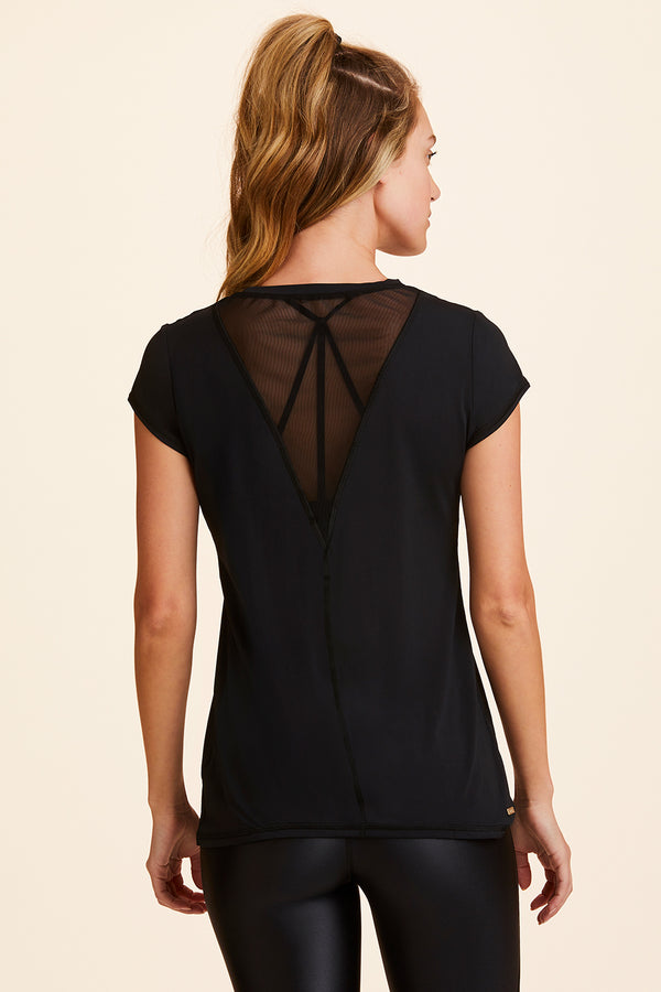 3/4 view of Alala Women's Luxury Athleisure black tee