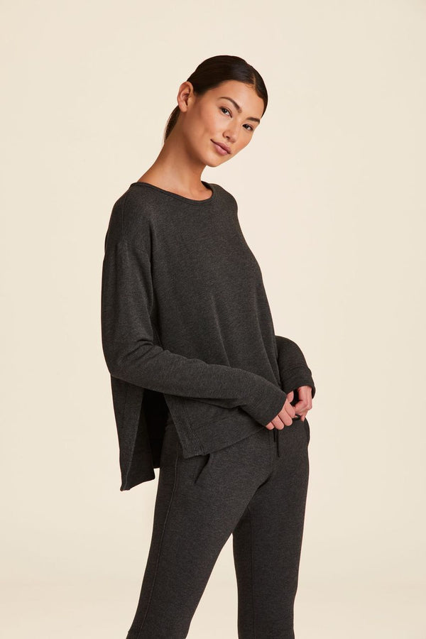 Front view of Alala Women's Luxury Athleisure charcoal sweatshirt