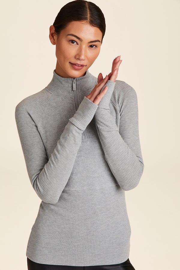 Front view of Alala Women's Luxury Athleisure super=soft quarter zip pullover