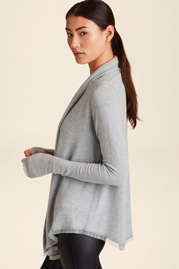 3/4 front view of Alala Women's Luxury Athleisure grey super-soft cardigan