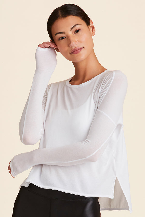 Front view of Alala Women's Luxury Athleisure white long-sleeve super soft tee