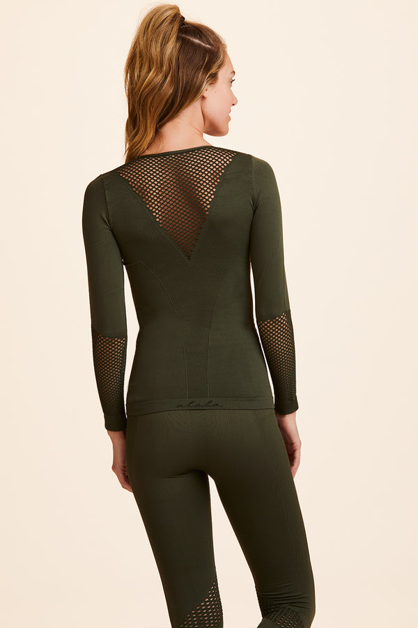 Front view of Alala Women's Luxury Athleisure army green seamless long sleeve tee with mesh detailing