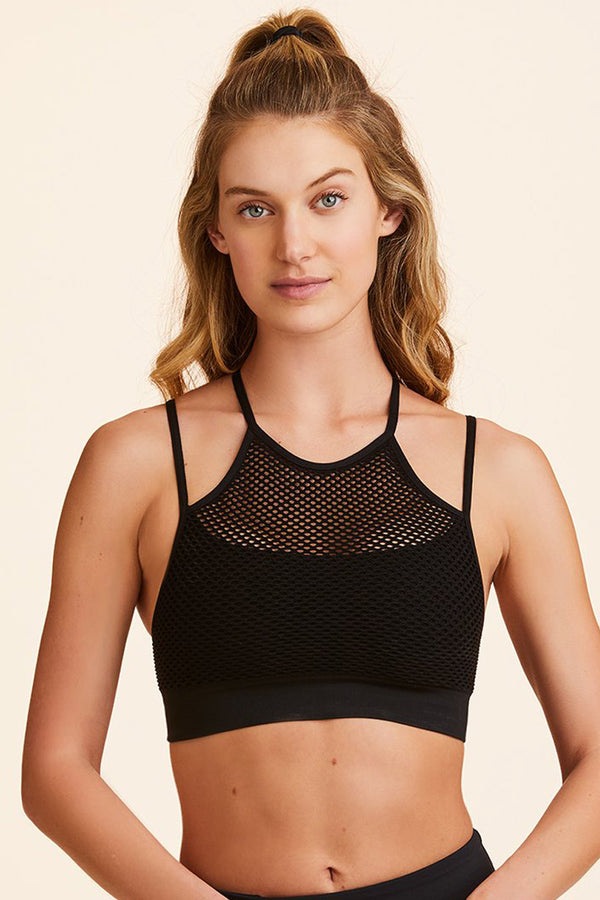 Front view of Alala Women's Luxury Athleisure black seamless bra with double straps