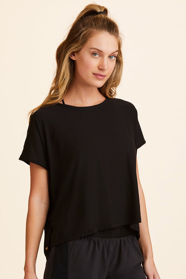 Front view of Alala Women's Luxury Athleisure super-soft tee in solid Black