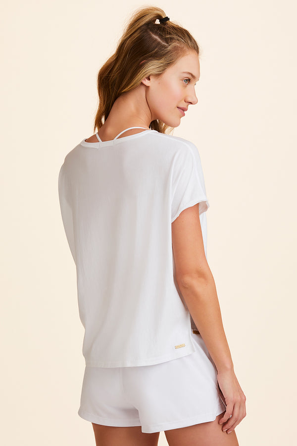 Front view of Alala Women's Luxury Athleisure super-soft tee in solid White