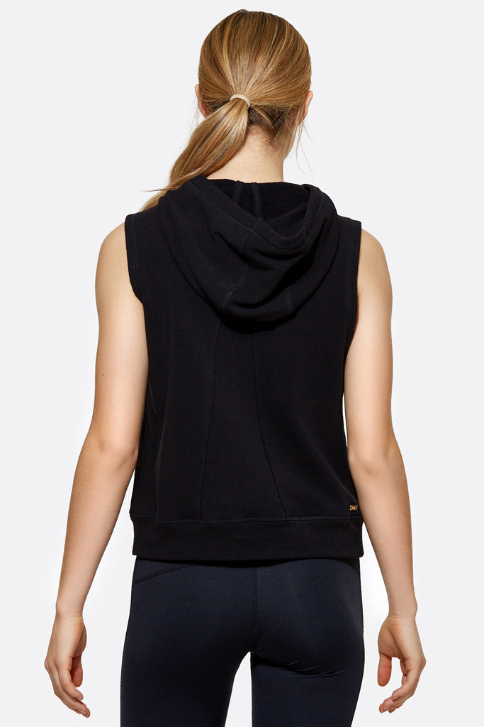 Lace Up Hoodie Vest in Black, $145 | Alala | Luxury Womens Activewear | Style meets Sport