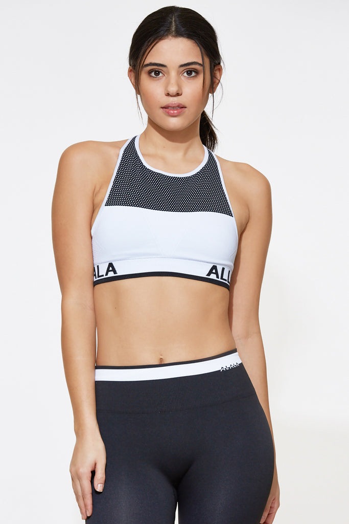 Ace Seamless Bra in White, {View 1} | Alala | Luxury Women's Activewear | Style meets Sport