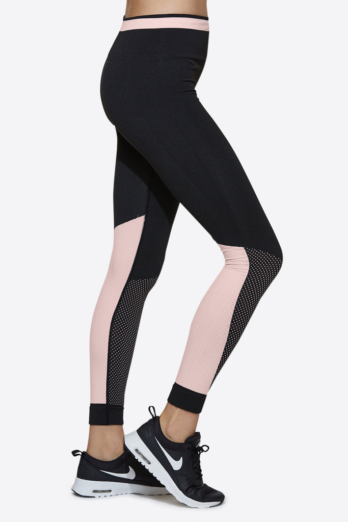 Ace Seamless Tights in Black & Rosé