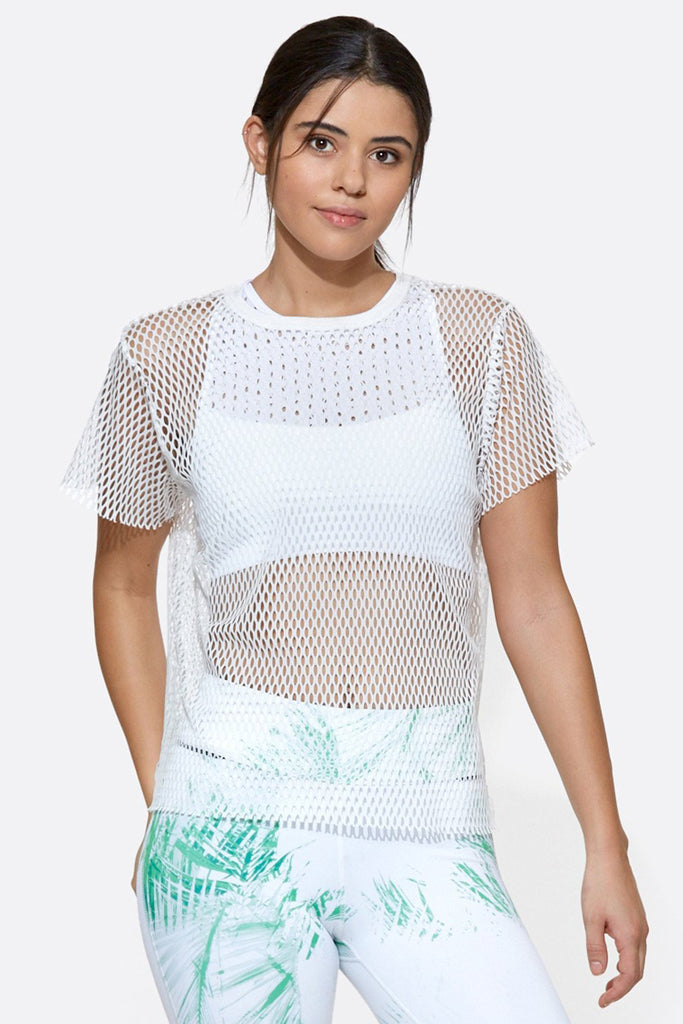 Island Mesh Tee in White, {View 1} | Alala | Luxury Women's Activewear | Style meets Sport