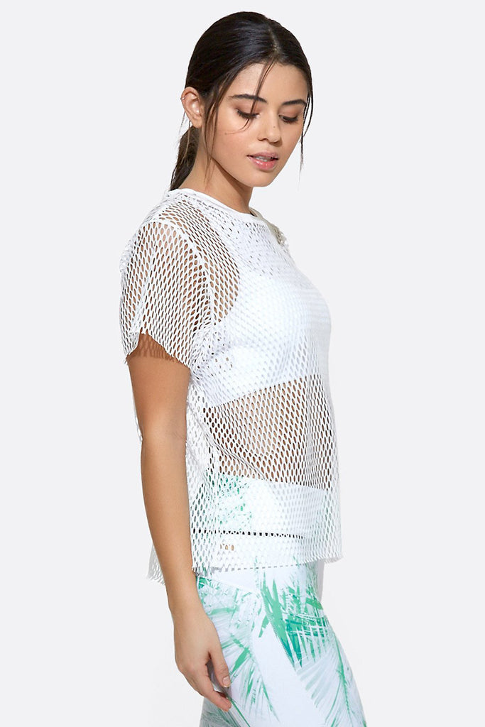 Island Mesh Tee in White, {View 2} | Alala | Luxury Women's Activewear | Style meets Sport