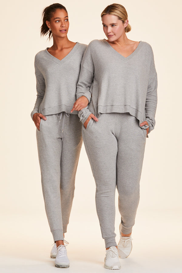 Front view of Alala Women's Luxury Athleisure super-soft grey sweatpant