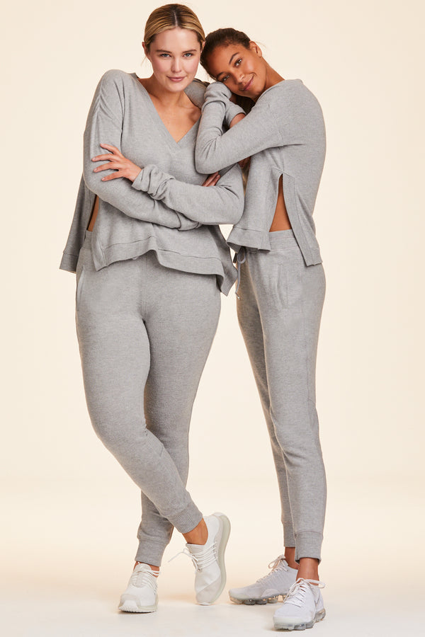 Front and side view of Alala Women's Luxury Athleisure super-soft grey sweatpant
