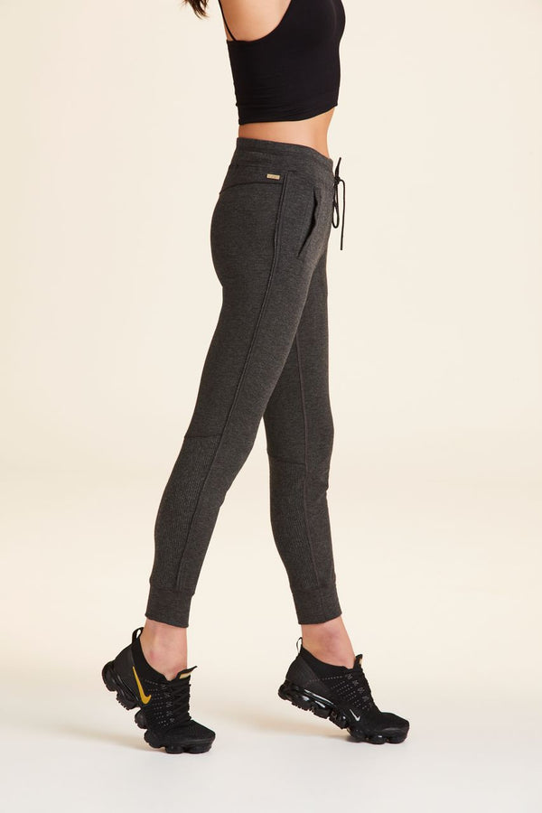 Front view of Alala Women's Luxury Athleisure charcoal sweatpant