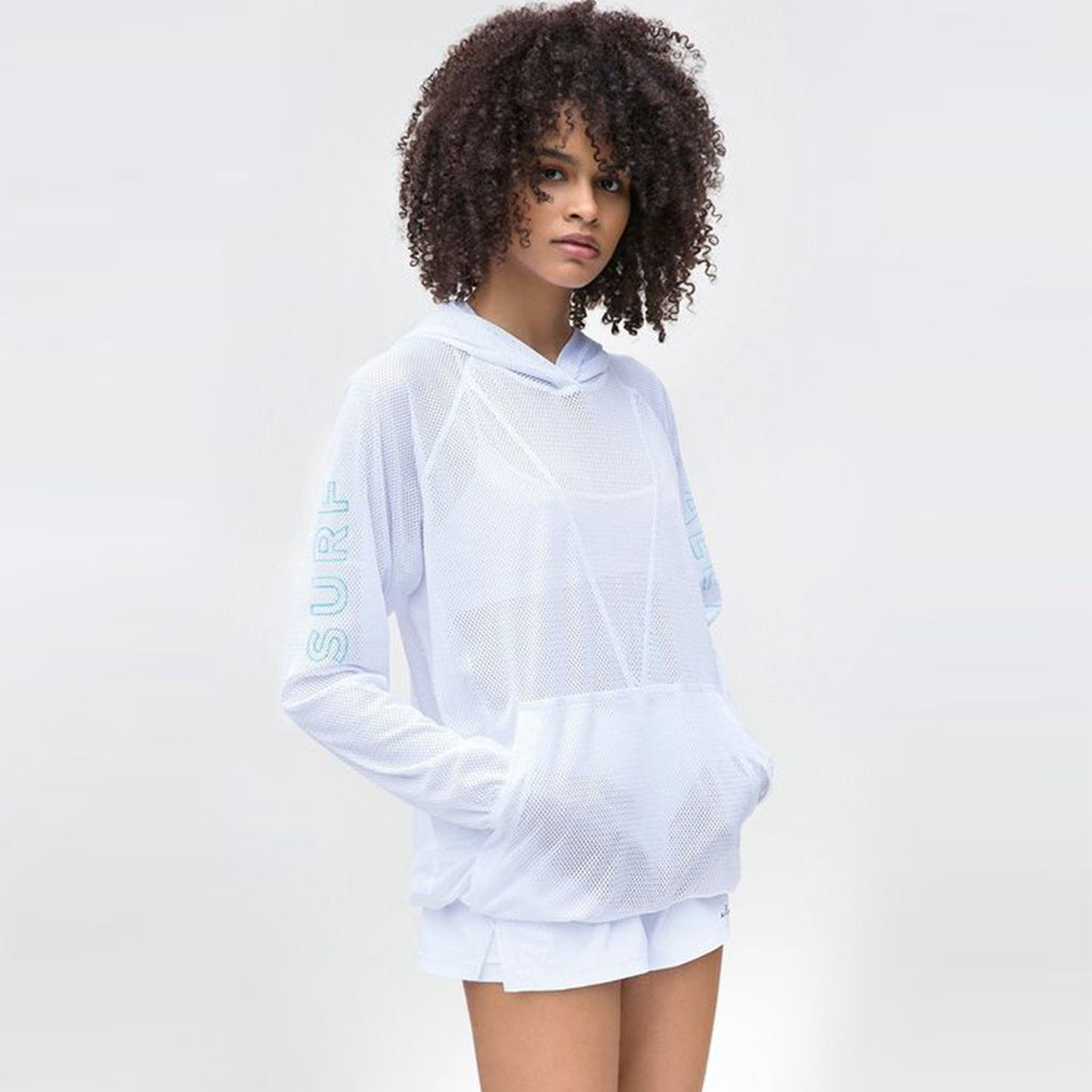 Mesh Drawstring Hoodie in Surf, {View 1} | Alala | Luxury Women's Activewear | Style meets Sport
