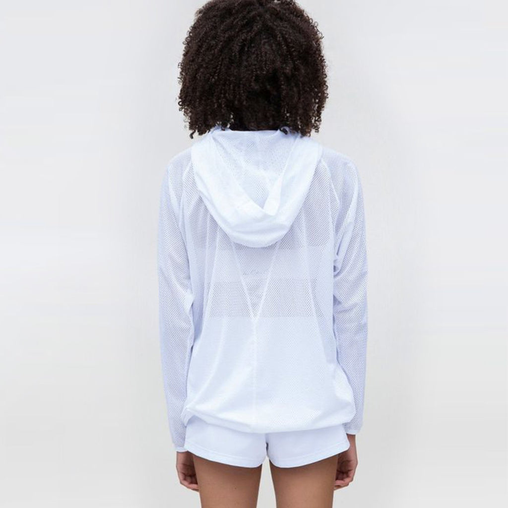 Mesh Drawstring Hoodie in Surf, {View 2} | Alala | Luxury Women's Activewear | Style meets Sport