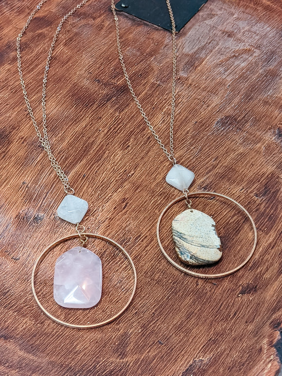 Circle Stone Necklace (click for more colors)