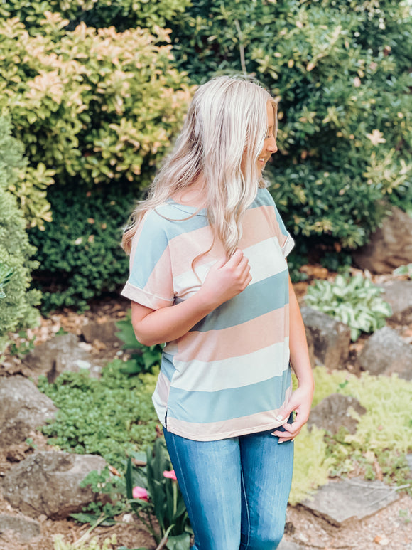 Slate & Peach Striped Top