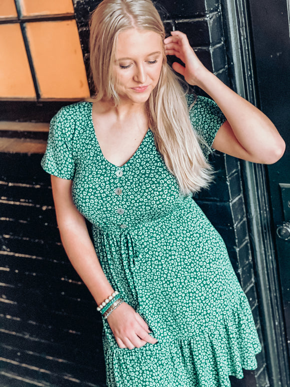 Charleston Green Floral Dress