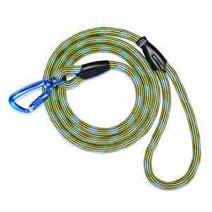 Green dog leash with locking carabiner.  Safe leash for your unique, adventurous dog.