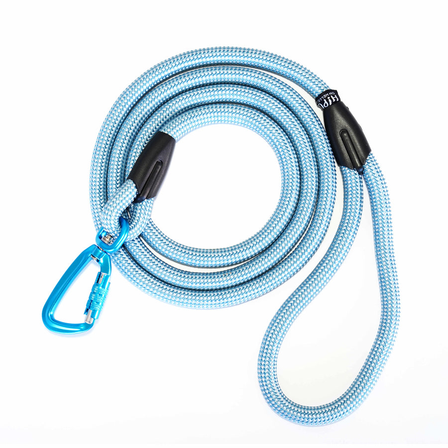Light blue dog leash with locking carabiner.  Safe leash for your unique, adventurous dog.