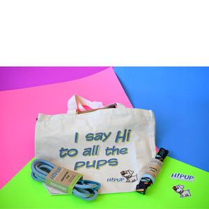 Adventure pack includes HiPUP tote bag, Adventure leash for your dog, seatbelt leash for your dog, HiPUP logo sticker, HiPUP dog.