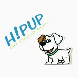 2 Stickers in pack. HiPUP logo and HiPUP dog