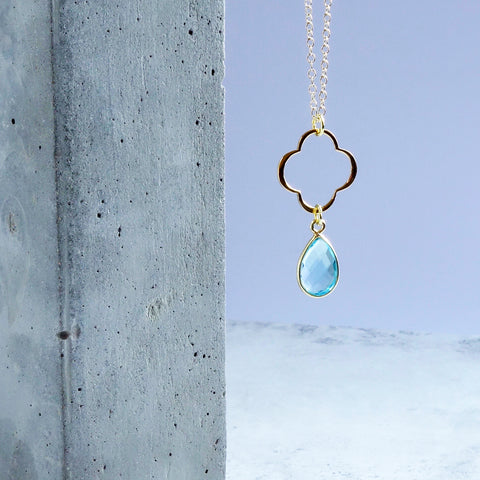 Blue Topaz Clover Necklace