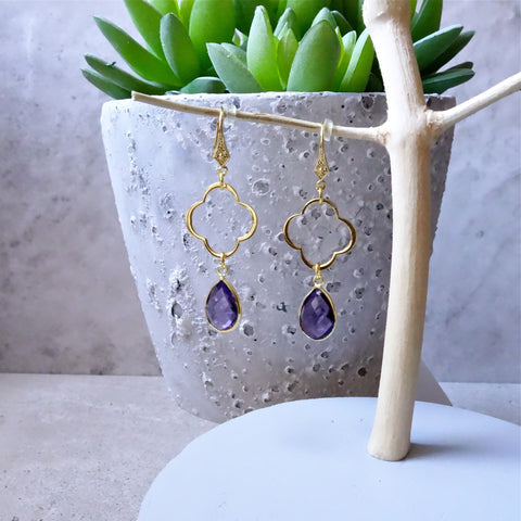 Amethyst Clover Earrings