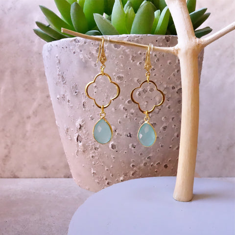 Aqua Chaledony Clover Earrings