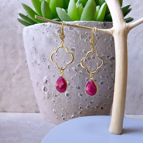 Ruby Clover Earrings