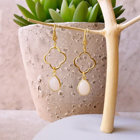 Moonstone Clover Earrings
