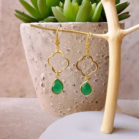 Emerald Onyx Clover Earrings