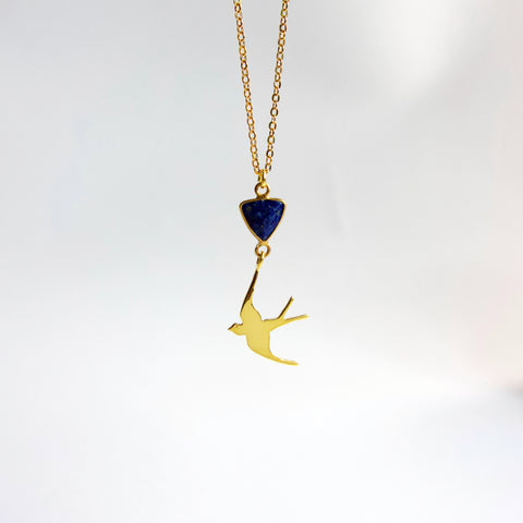 Gold Swallow Lapis Necklace