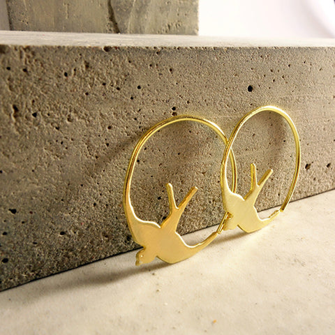 Gold Swallow Hoops Earrings