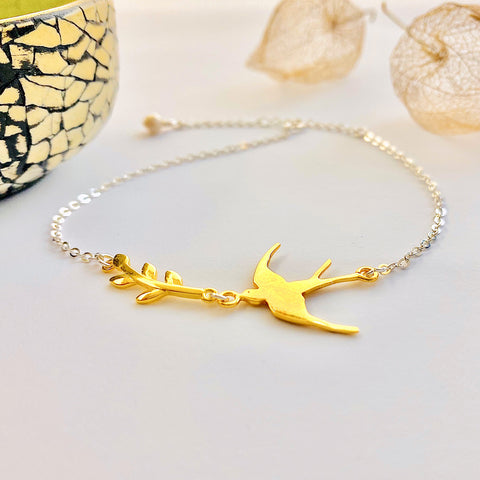 Gold Swallow and Leaf Bracelet