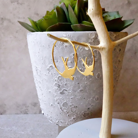 18ct Gold Swallow Earrings