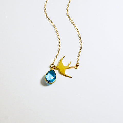 Blue Topaz Gold Swallow Necklace