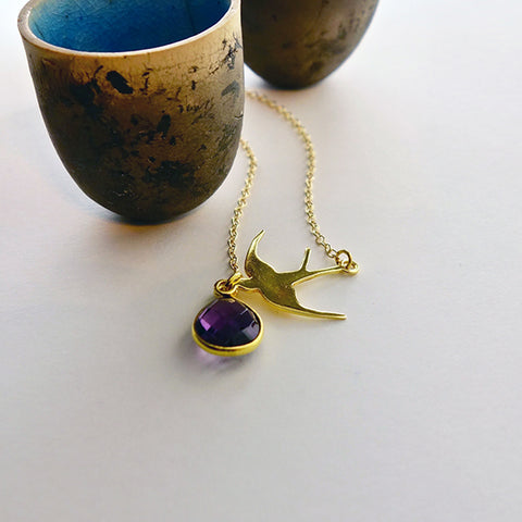 Amethyst Gold Swallow Necklace