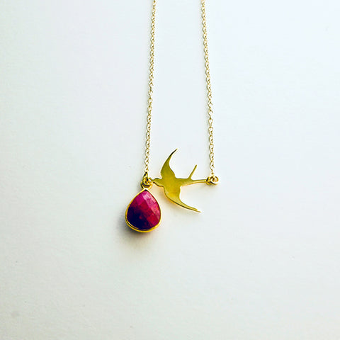 Garnet Gold Swallow Necklace
