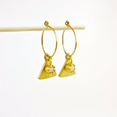 Gold Hoop Triangle Rose Quartz Earrings