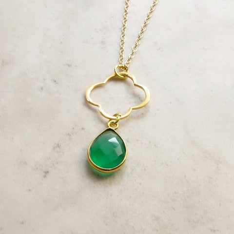 Emerald Onyx Clover Necklace