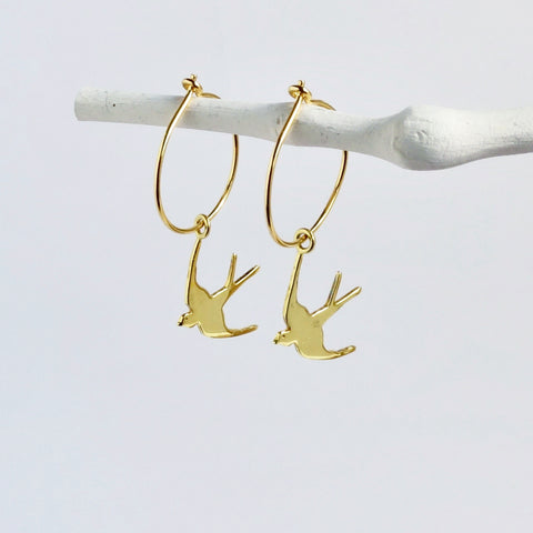 Gold Swallow Hoop Dangle Earrings