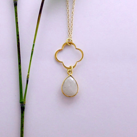 Moonstone Clover Necklace