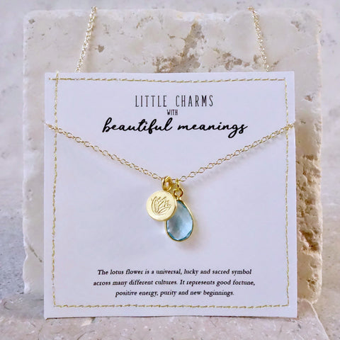 Personalised Gold Lotus Charm Necklace