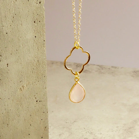 Pink Chalcedony Clover Necklace