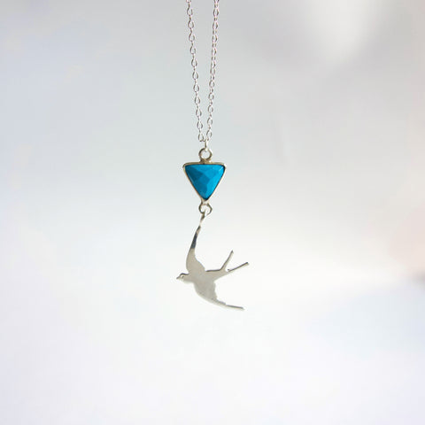 Silver Swallow Turquoise Necklace