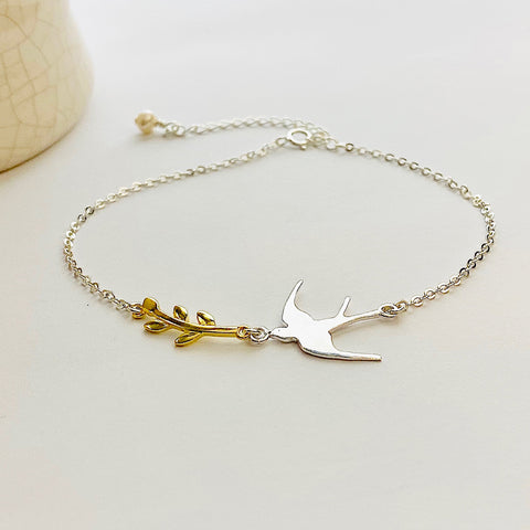 Sterling Silver Swallow and Leaf Bracelet